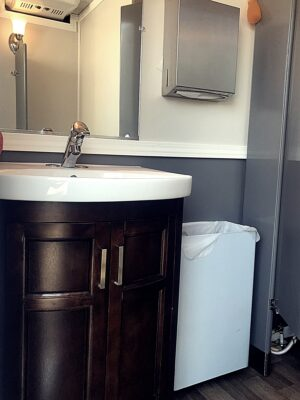 5 Stall Restroom Trailer Vanity | Noah's Ark Port-A-Jons